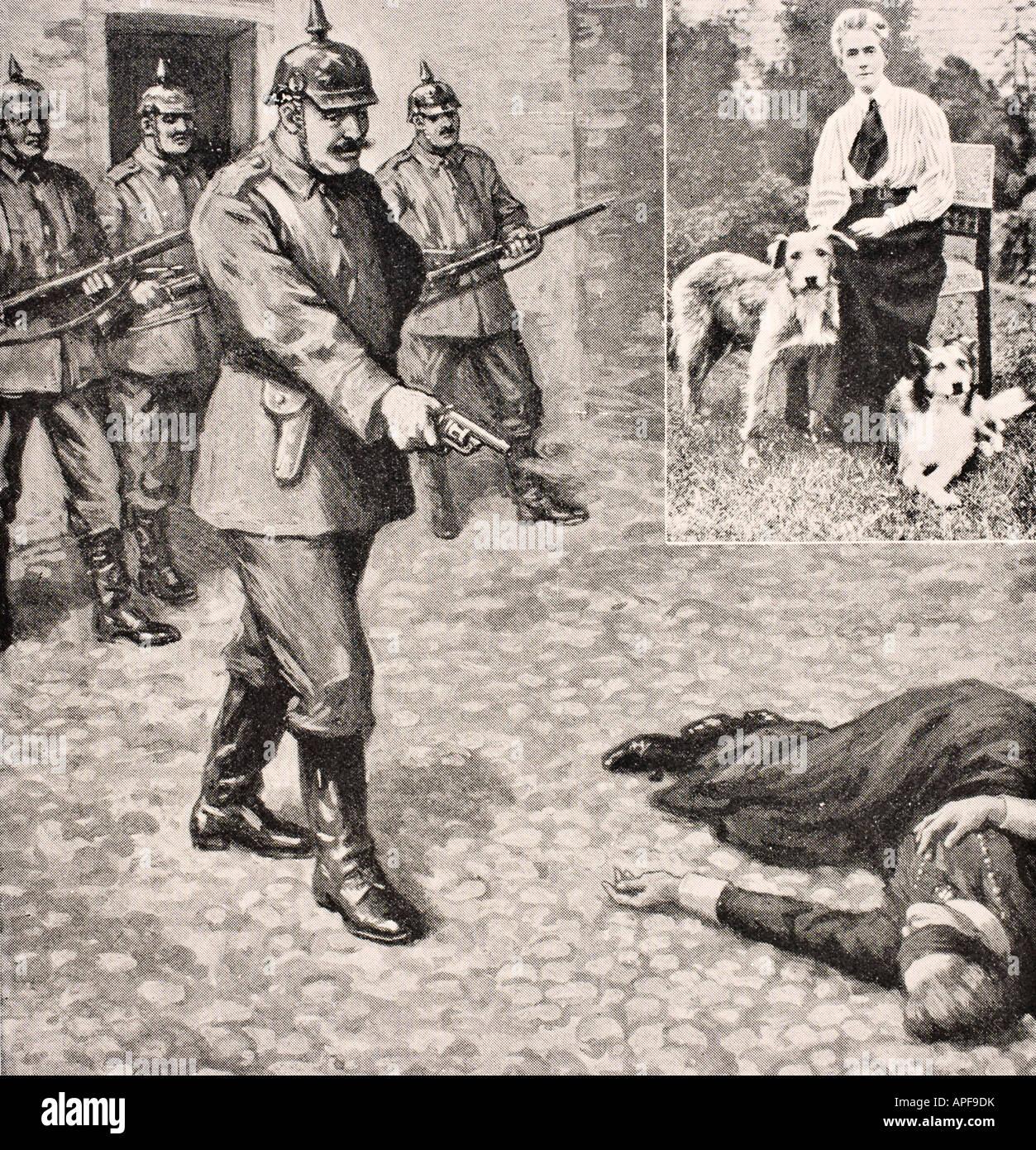 Disegno immaginario di esecuzione di Edith Cavell Louisa 1865 a ottobre 12,1915, British infermiera e aiuto umanitario Immagini Stock