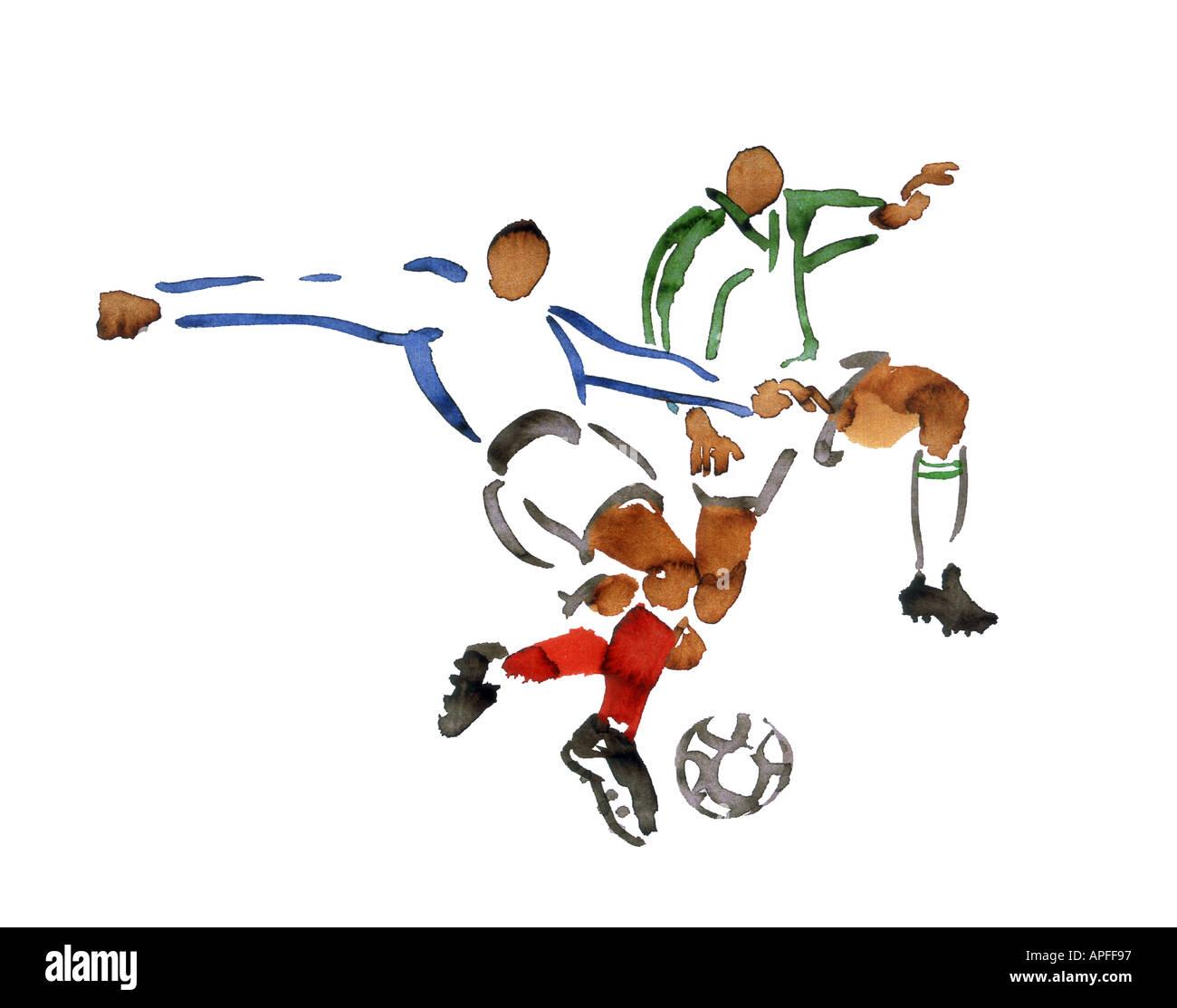 Illustrazioni Sport Sport di squadra giochi con la palla calcio Immagini Stock