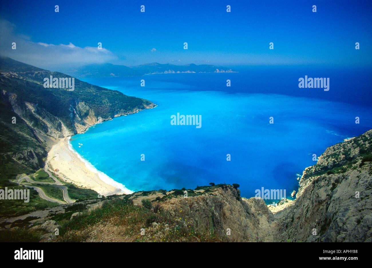 Su una spiaggia greca isola del Mar Ionio di Cefalonia Grecia UE Unione europea EUROPA Immagini Stock