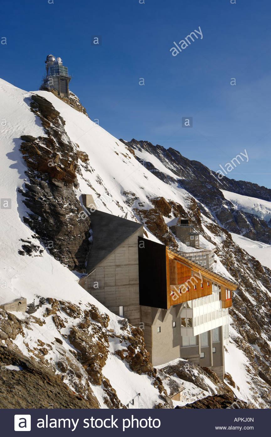 Vista panoramica della Jungrfrau Top d'Europa osservatorio, altopiano Jungfrau alpi svizzere, Svizzera. Immagini Stock