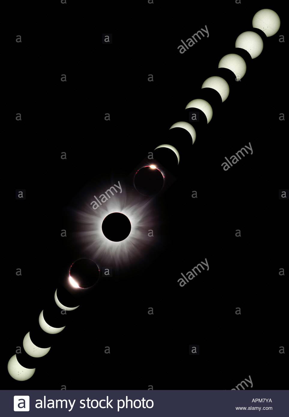 Eclissi solare 2001, Zambia Immagini Stock