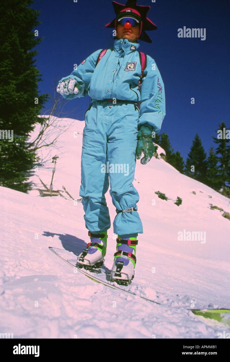 Snowboard in 80's Immagini Stock