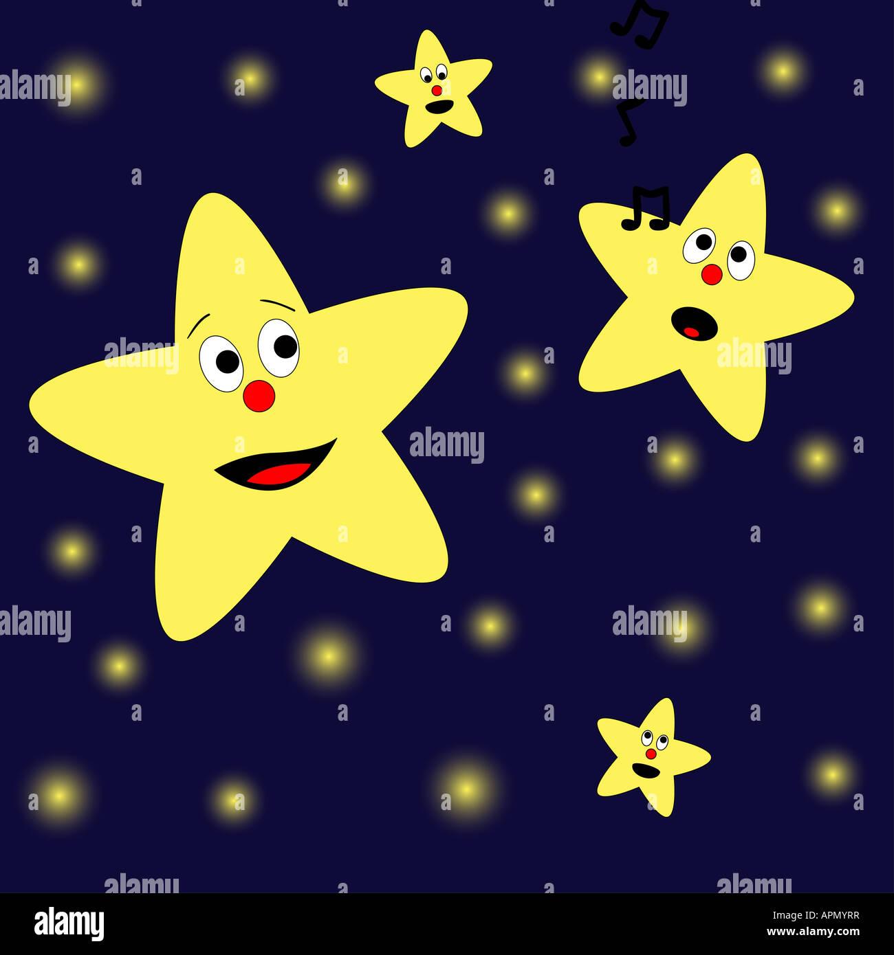 Una stella è cantare una canzone per altre stelle Immagini Stock