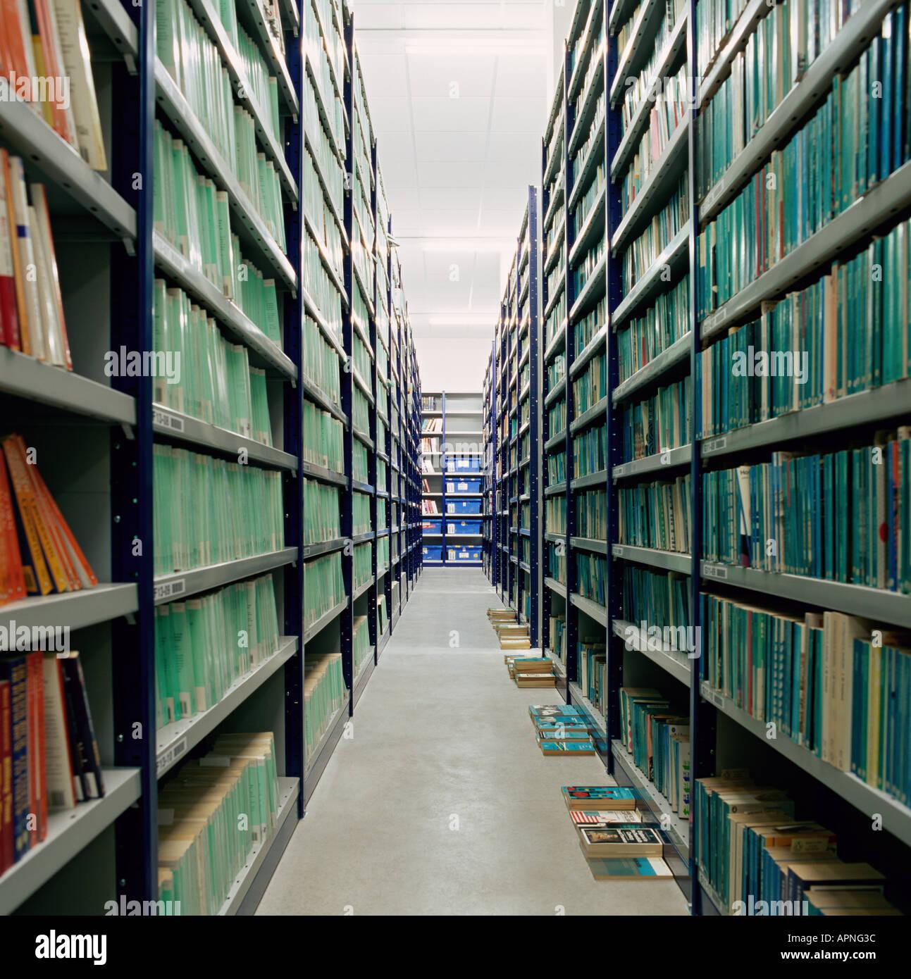 Libri in un archivio Immagini Stock