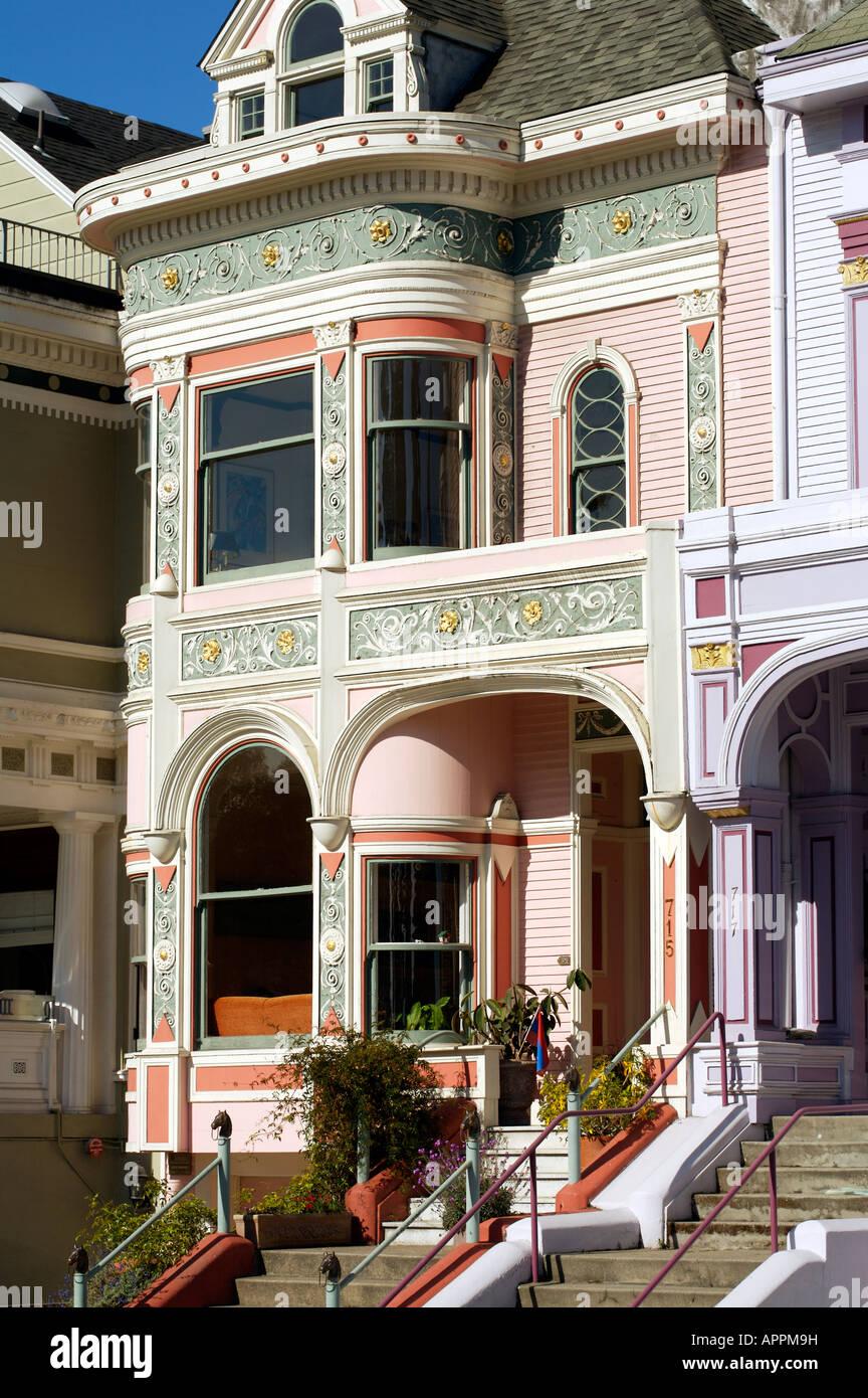 Architettura vittoriana su Alamo Square San Francisco Stati Uniti d'America Immagini Stock