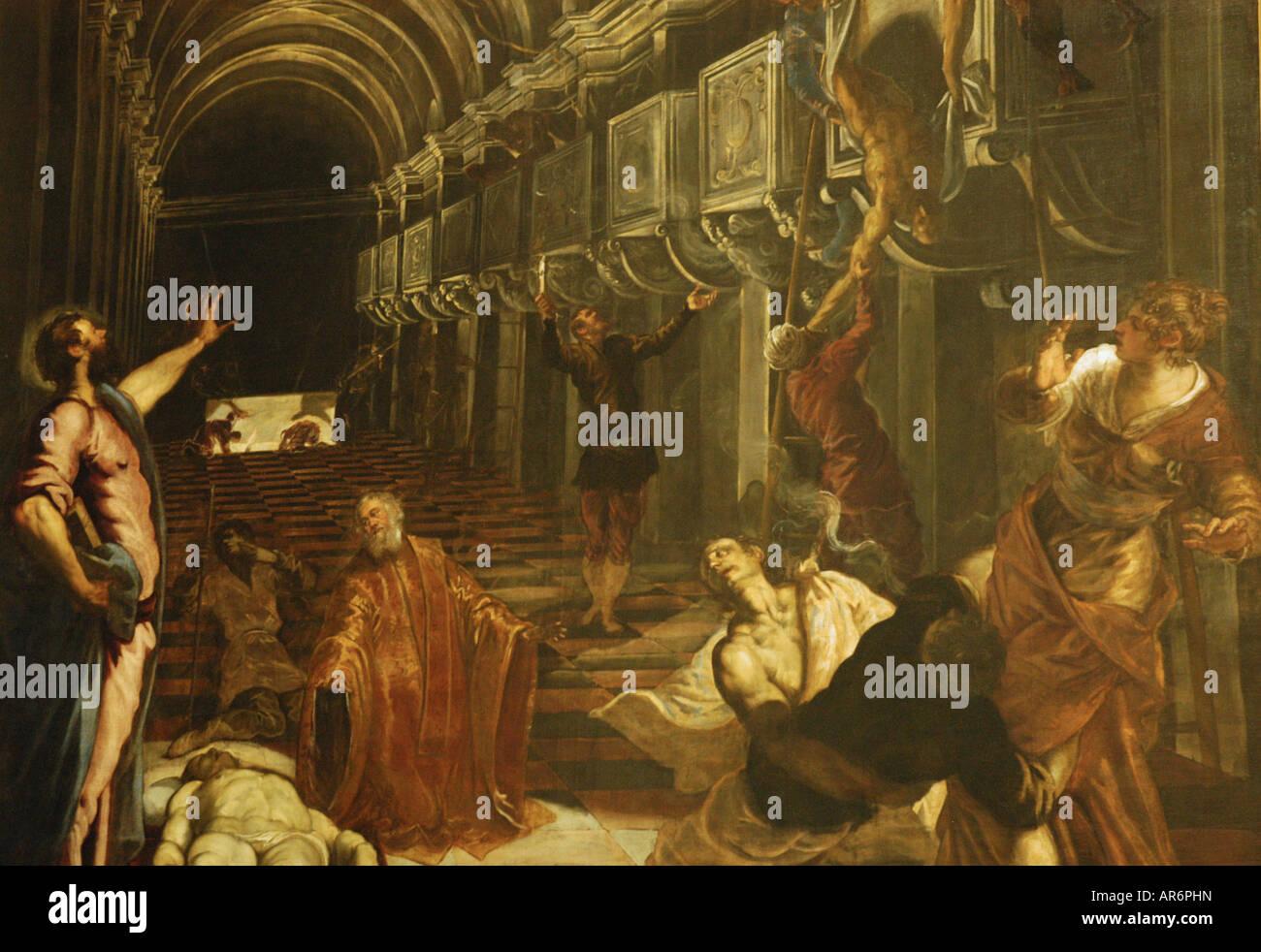 TINTORETTO IL RITROVAMENTO DEL CORPO DI SAN MARCO la Pinacoteca di Brera a Milano Immagini Stock