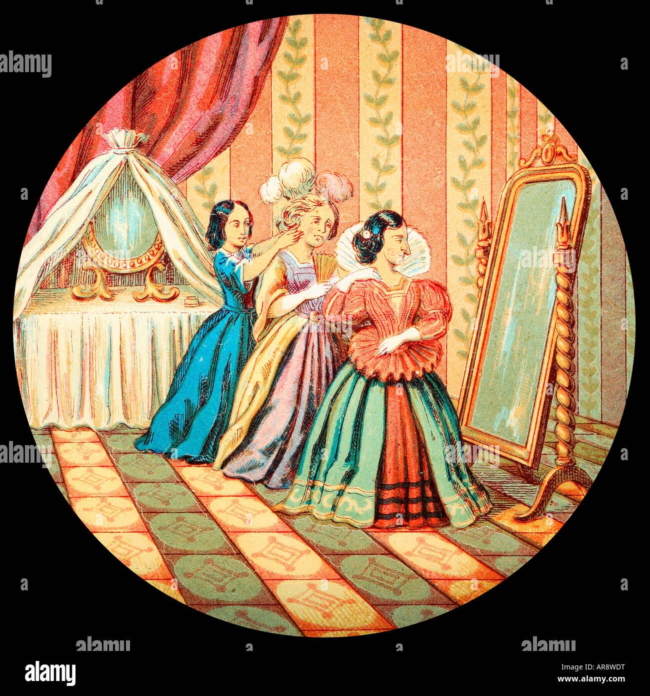 Vecchia lanterna in vetro scorrevole della storia di Cenerentola. Con il brutto sorelle. Immagini Stock