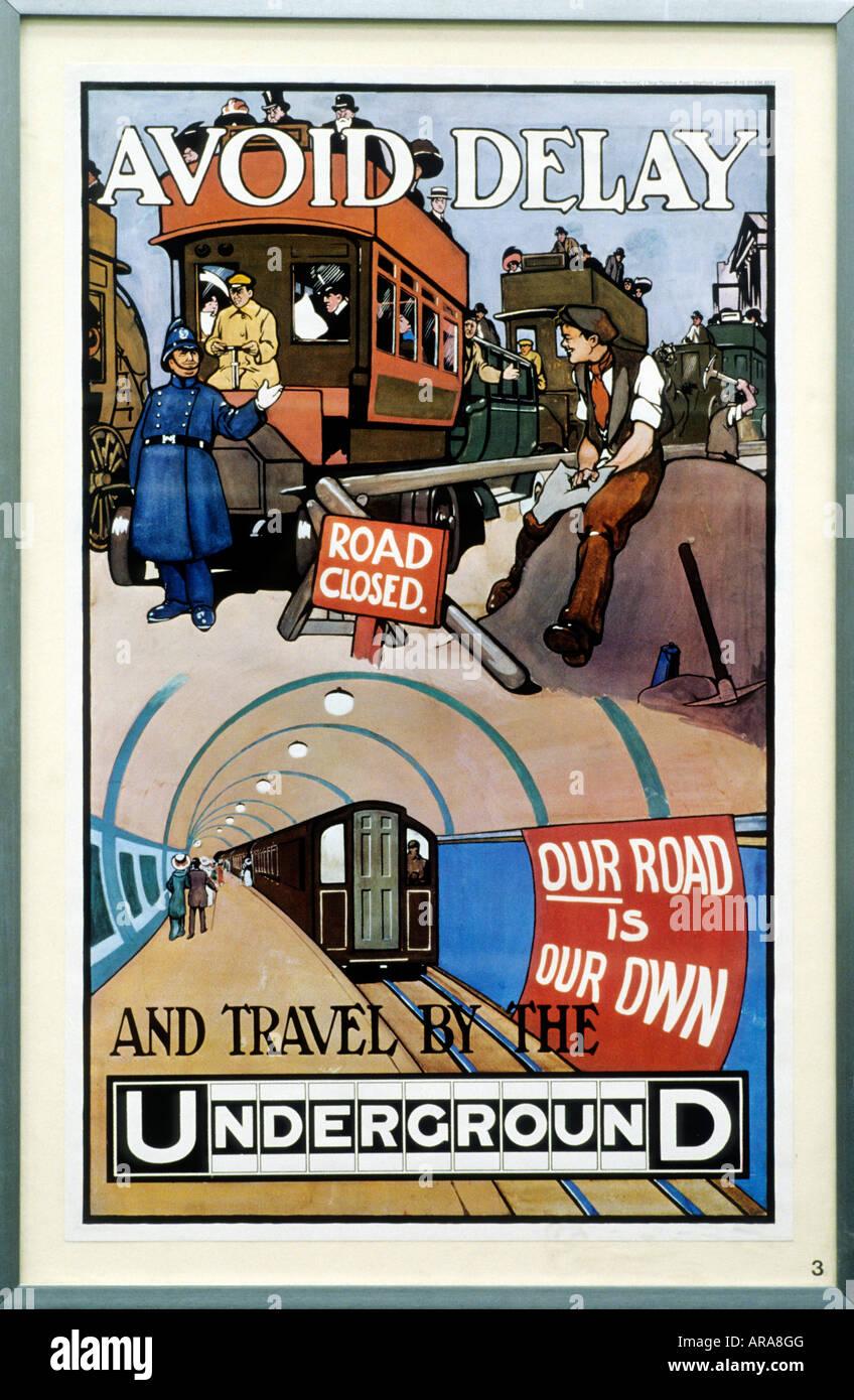 Museo dei Trasporti di Londra Poster pubblicitario 1910 Edwardian England Regno Unito il trasporto di traffico la Immagini Stock