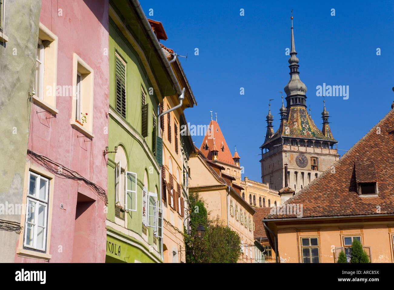 Torre dell Orologio (Turnul cu Ceas), nel centro medievale della città vecchia o cittadella, Sighisoara, Transilvania, Immagini Stock