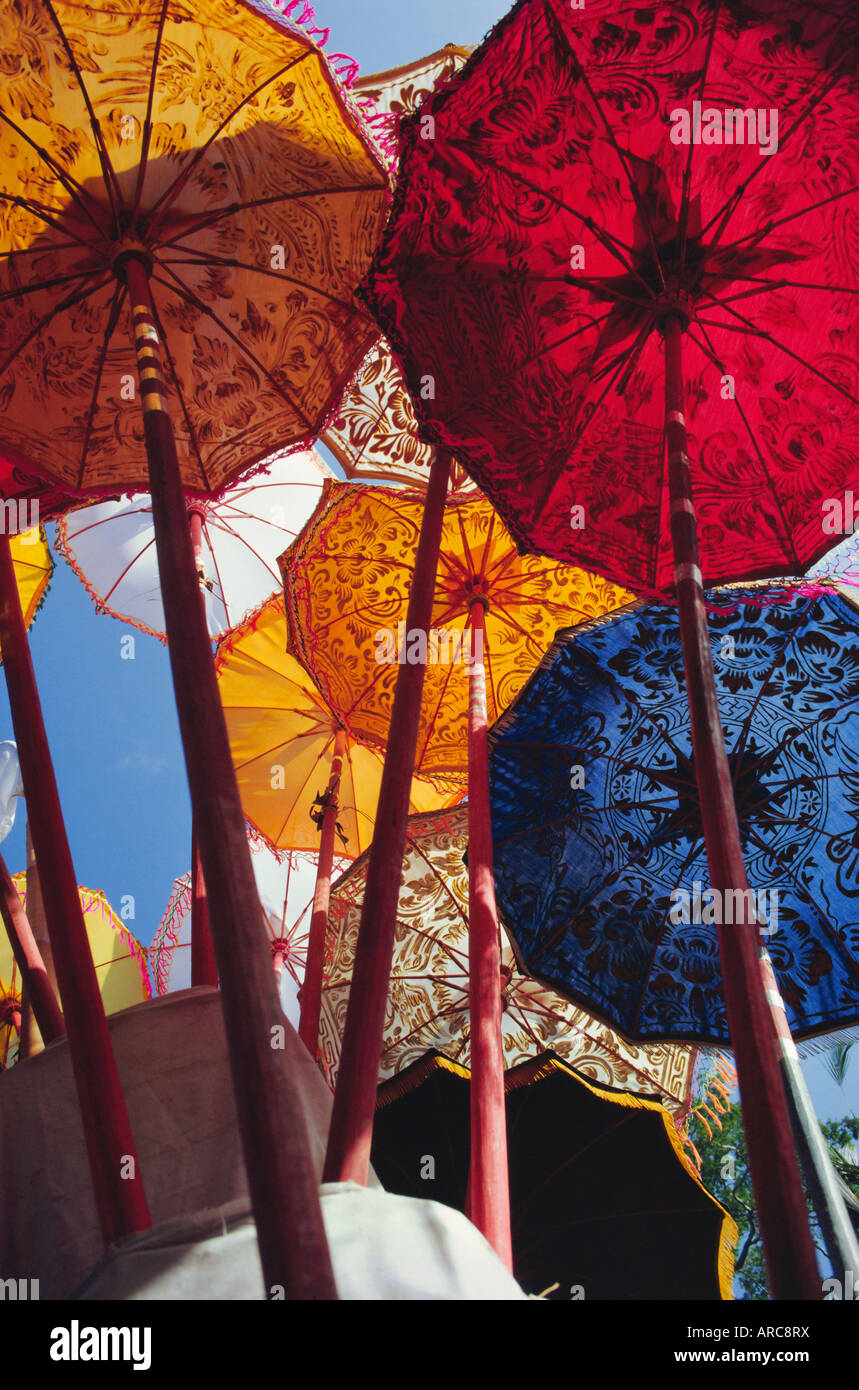 Ombrelli decorativo, Festival tempio, Mas, Bali, Indonesia, Asia Immagini Stock