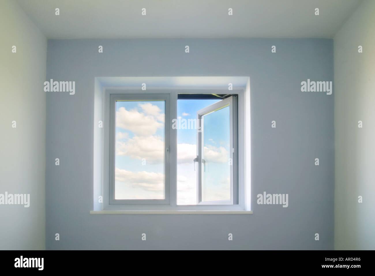 Concetto di immagine di una finestra aperta Immagini Stock
