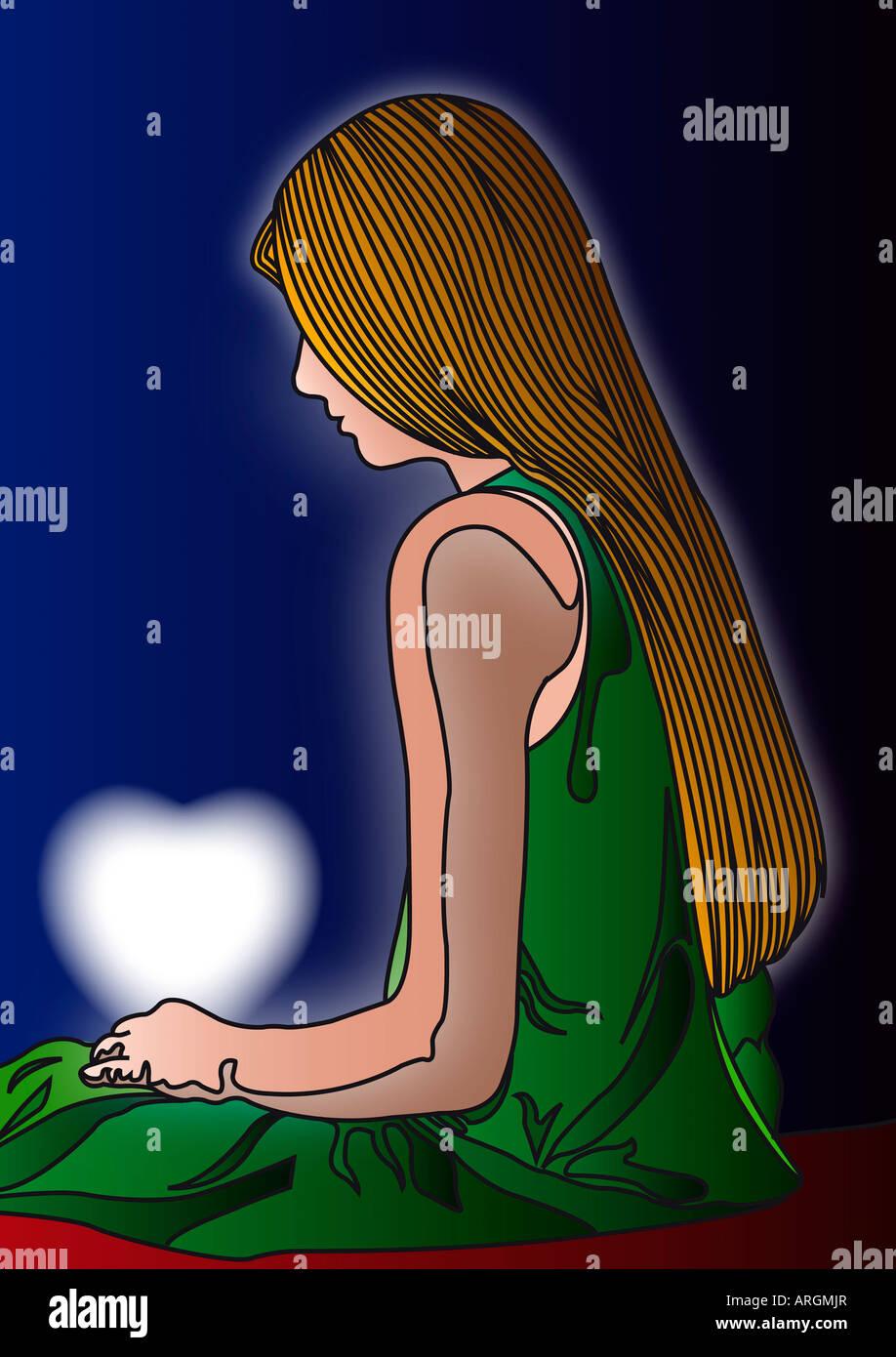 Illustrazione della ragazza con cuore incandescente Foto Stock