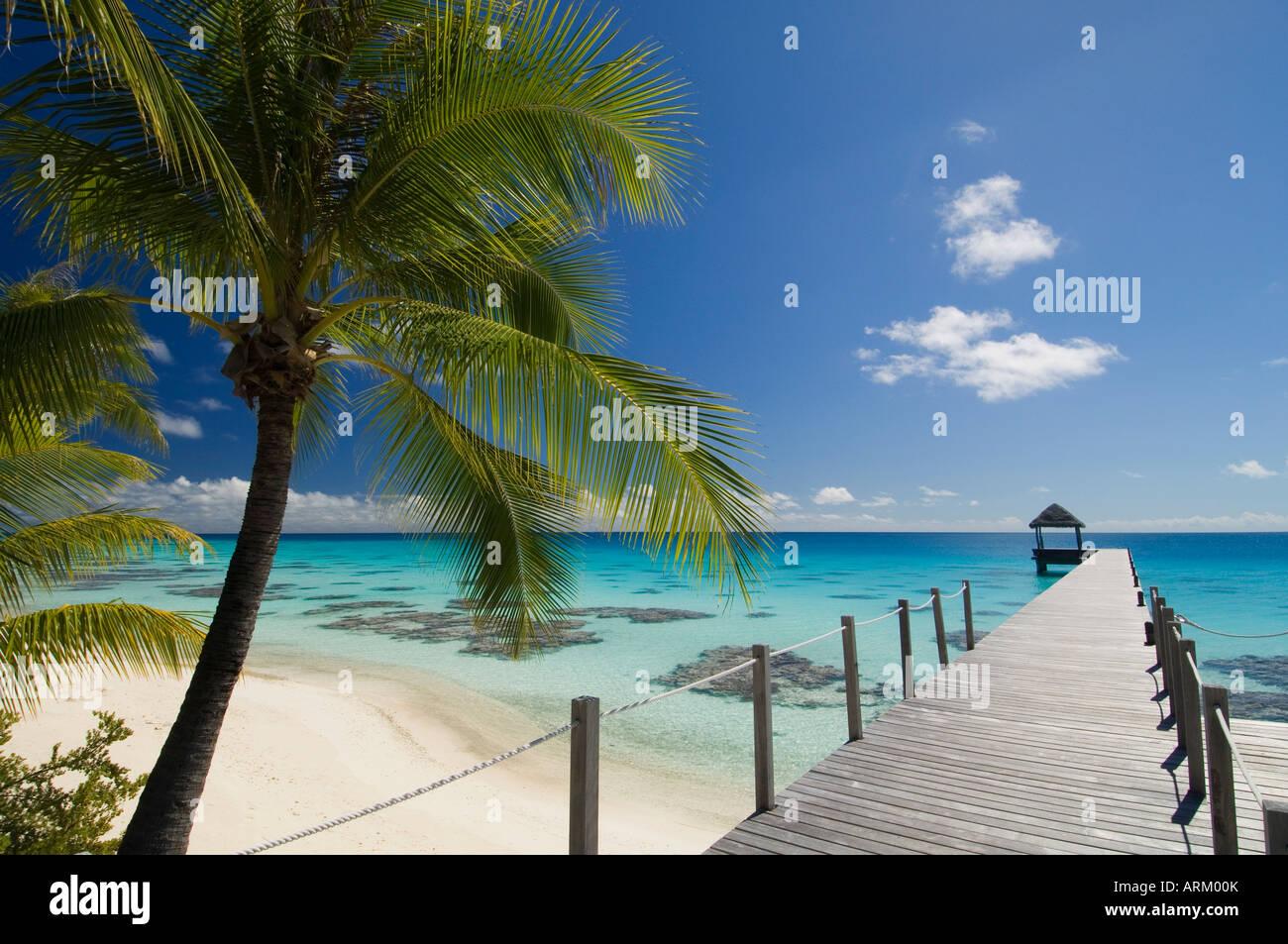 Le Maitai Dream Hotel, Fakarawa, Arcipelago Tuamotu, Polinesia francese, Isole del Pacifico e del Pacifico Immagini Stock