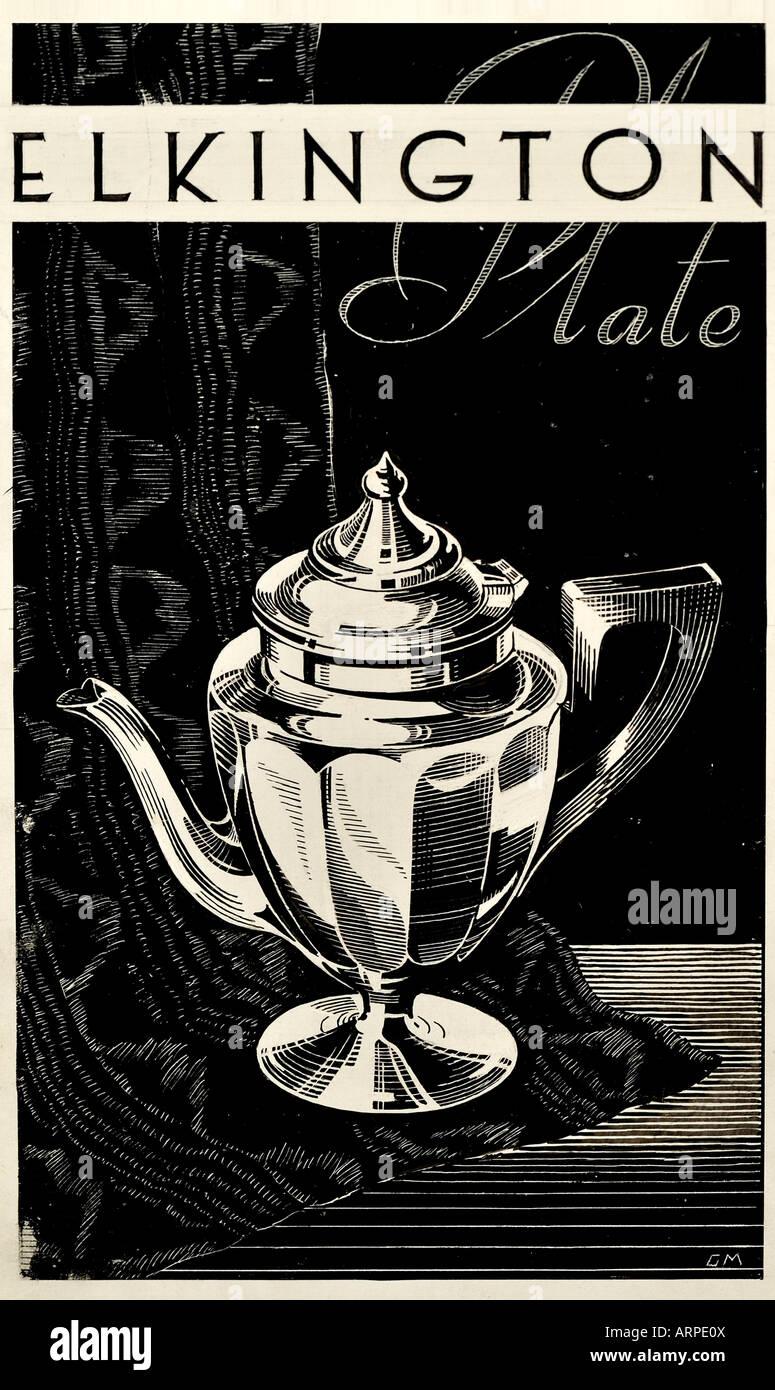 Xilografia pubblicità per Elkington piastra di argento Edwardian Immagini Stock