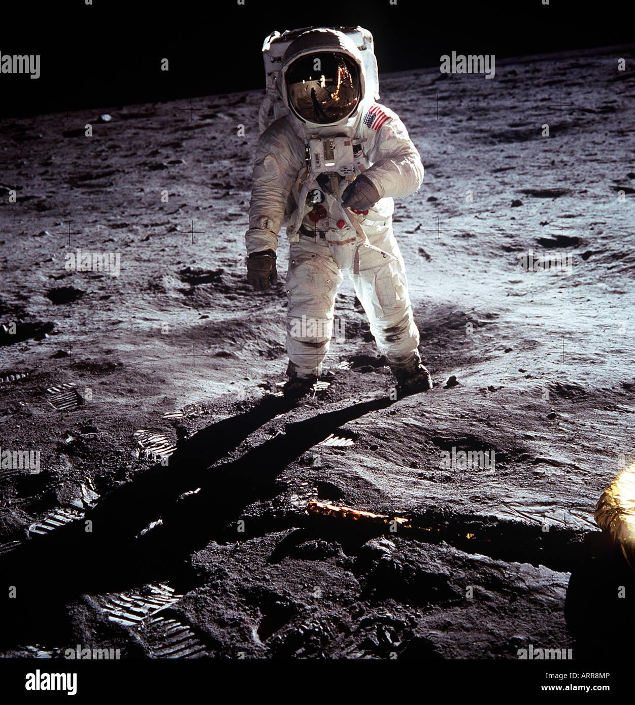 Astronauta americano Neil Armstrong NASA Apollo 11 sbarco sulla luna Foto Stock