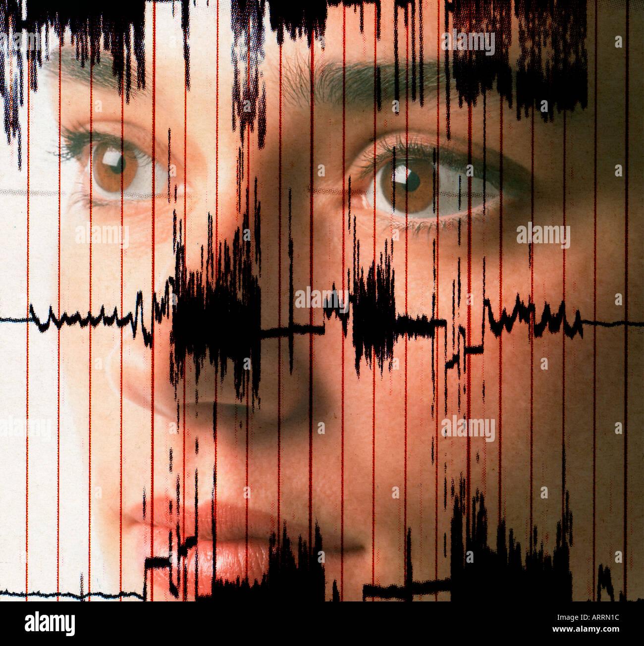 Donna medico controllo EKG concetto di prova Immagini Stock