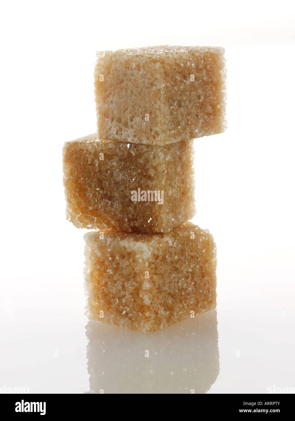 Brown di zucchero di canna grezzo Demerara cubi Immagini Stock