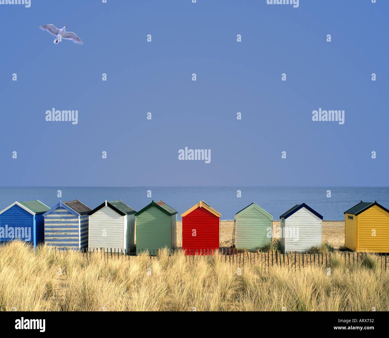 GB - SUFFOLK: spiaggia tradizionali capanne a Southwold Immagini Stock