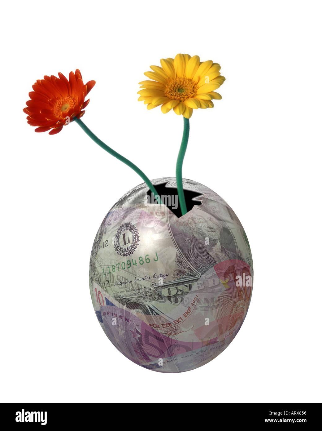 Concetto finanziario: il nido uovo Foto Stock
