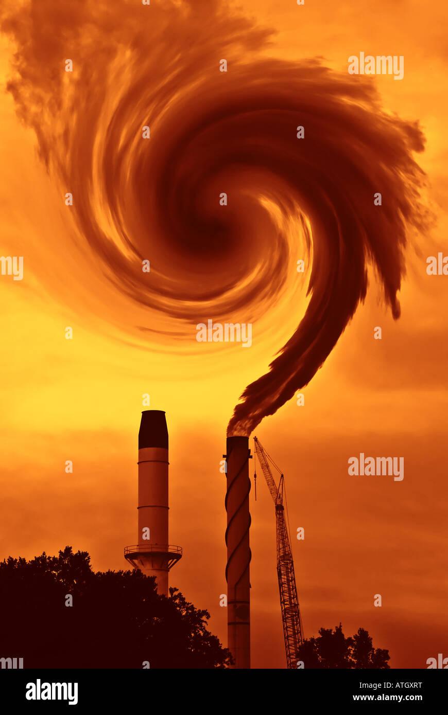La questione del riscaldamento globale o il cambiamento climatico con fumo dalla fabbrica in terra di siena bruciata Immagini Stock