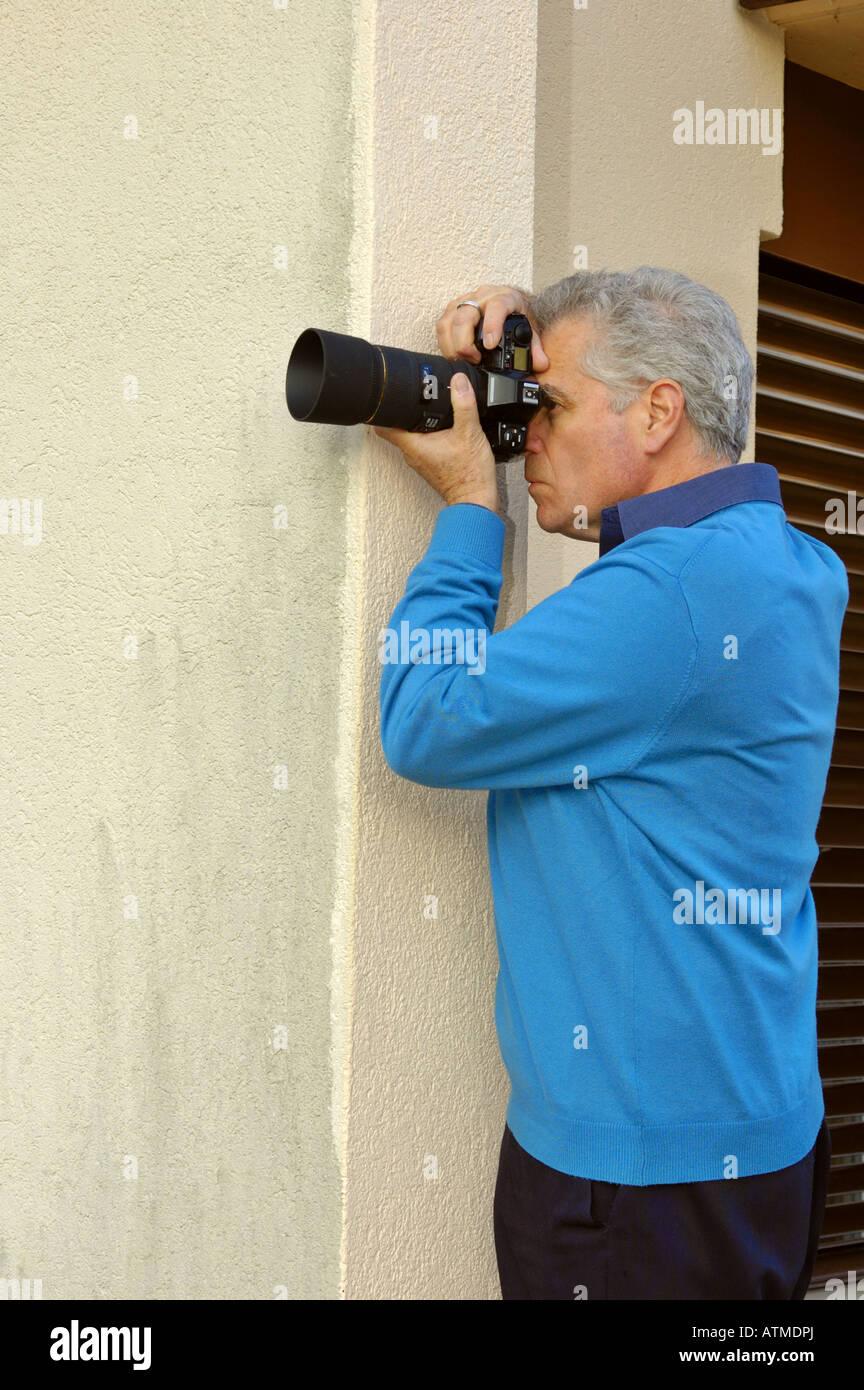 Teleobiettivo con tecnica - supporti antisismici la fotocamera Immagini Stock