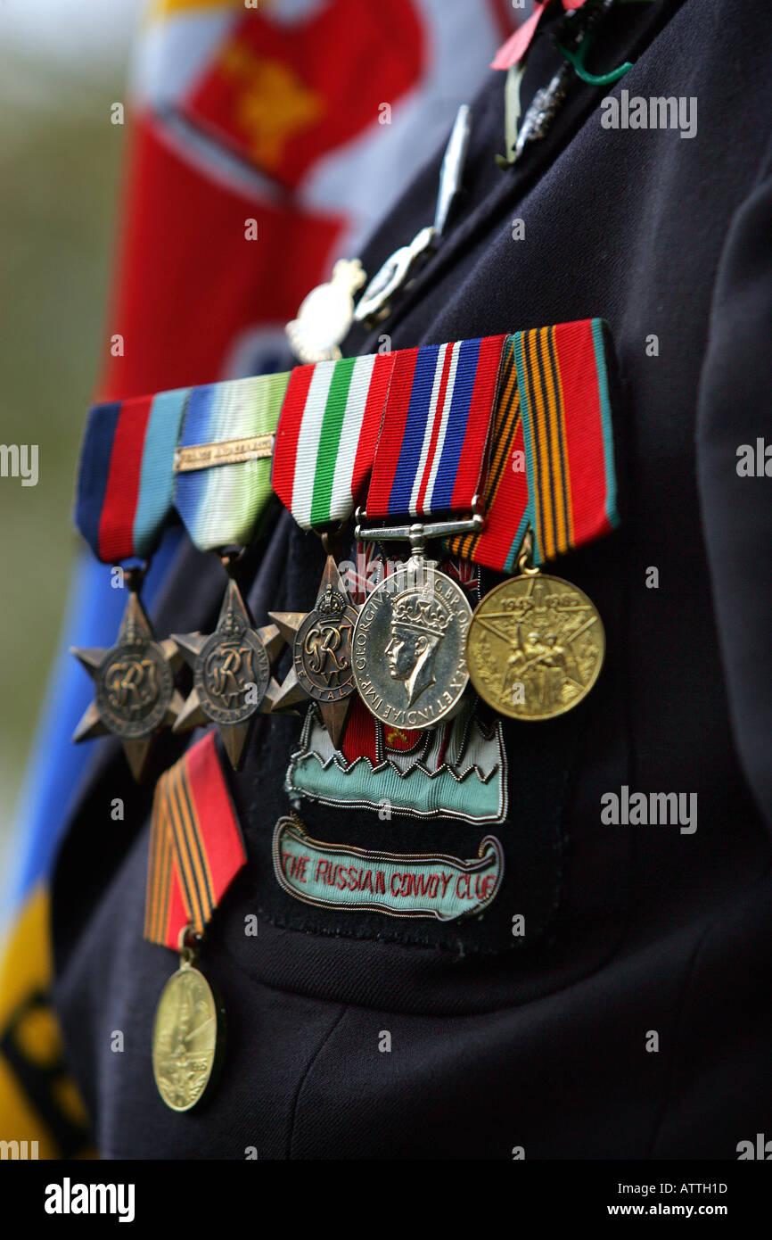 Medaglie sul petto di un veterano di guerra ad un armistizio giorno di servizio a Exeter, Devon Regno Unito Immagini Stock