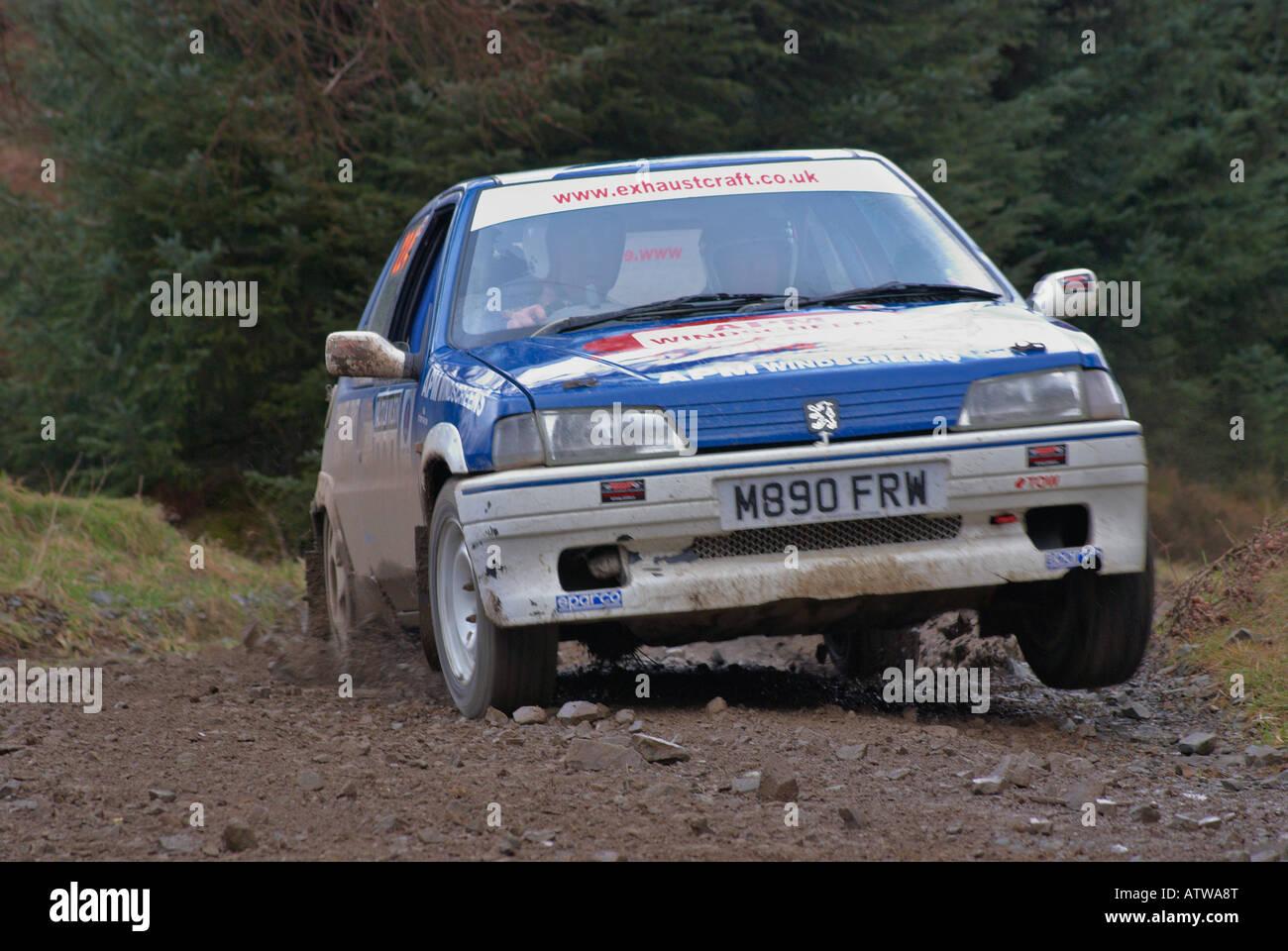 Rally Car su una speciale fase di foresta di un motor sport rally Immagini Stock