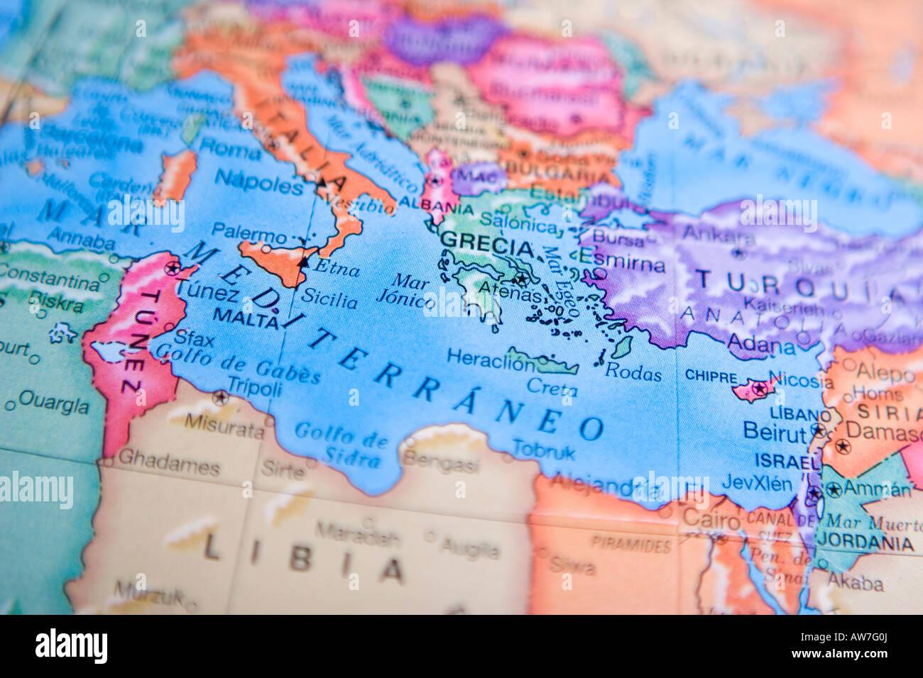 Mare Mediterraneo Cartina.Mappa Del Mare Del Mondo Immagini E Fotos Stock Alamy