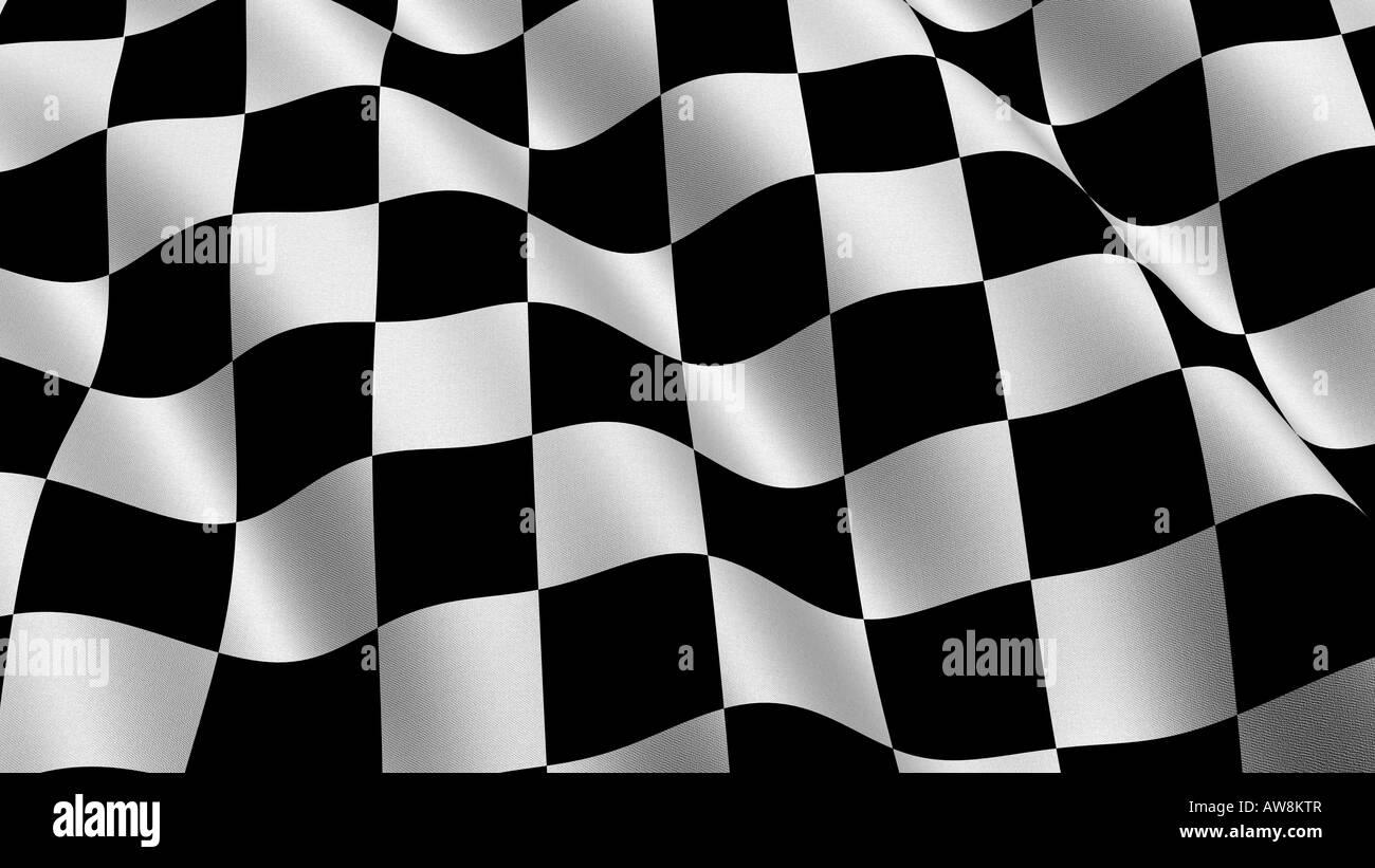Bandiera di gara - una risoluzione molto alta gara bandiera sventolare nel vento con un panno la texture Immagini Stock