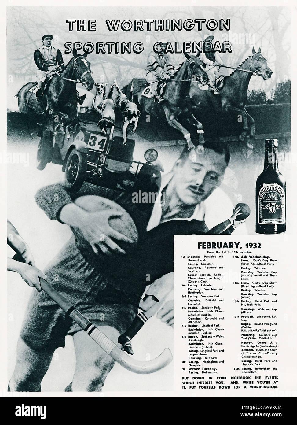 Grande Evento Calendario.Worthington Calendario Sportivo Feb 1932 Magazine Spot Per