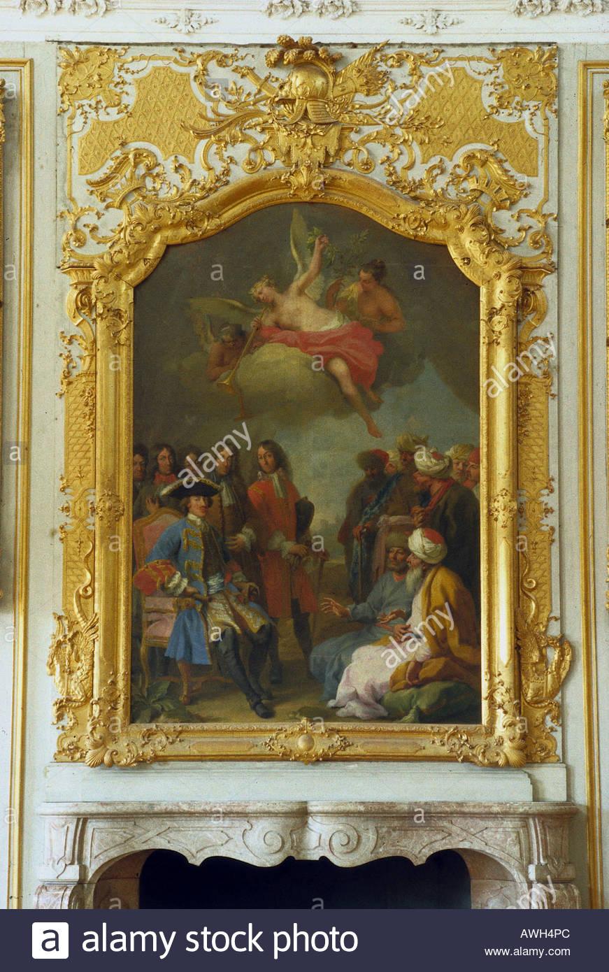 In Germania, in Baviera superiore (Nord), Schleißheim Nuovo Palazzo, pittura a olio emissario turco dopo la sua vittoria a Vienna Immagini Stock