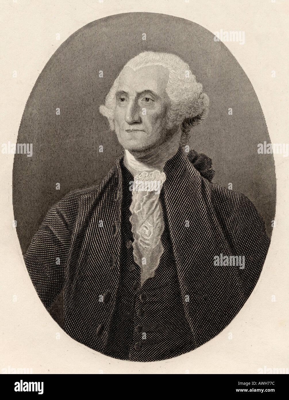 George Washington, 1732 - 1799. Americana leader politico, militare generale, statista e Padre Fondatore. Primo presidente degli Stati Uniti. Immagini Stock