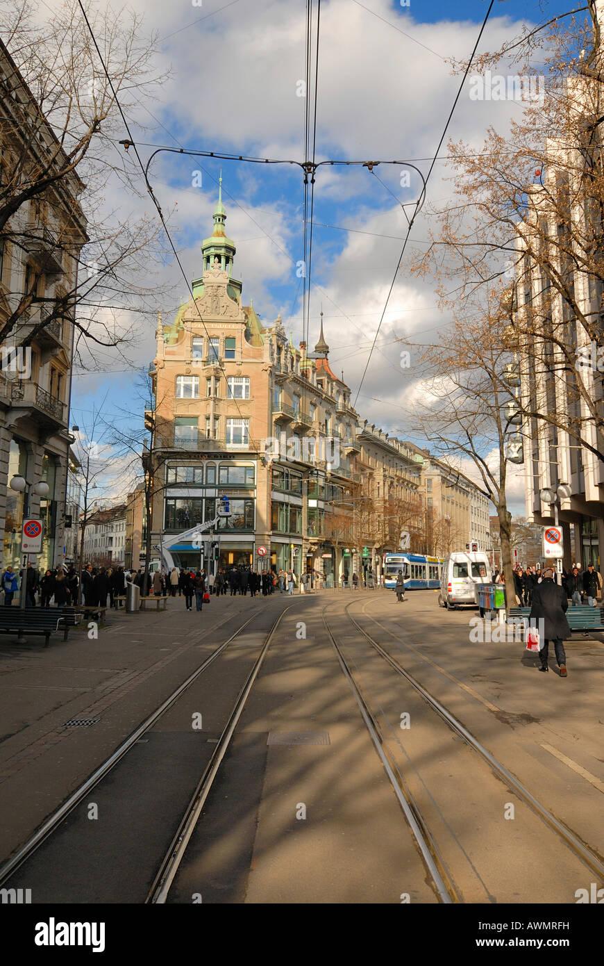 Zuerich - Bahnhofstrasse - Svizzera, Europa. Foto Stock