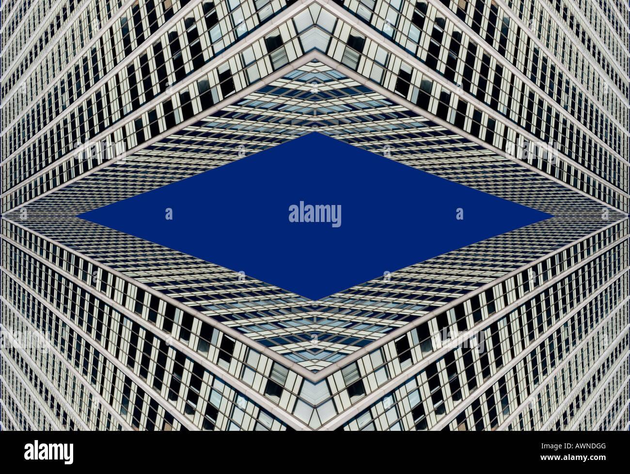 Fotomontaggio l'elaborazione grafica, casa di facciata, grattacielo Immagini Stock
