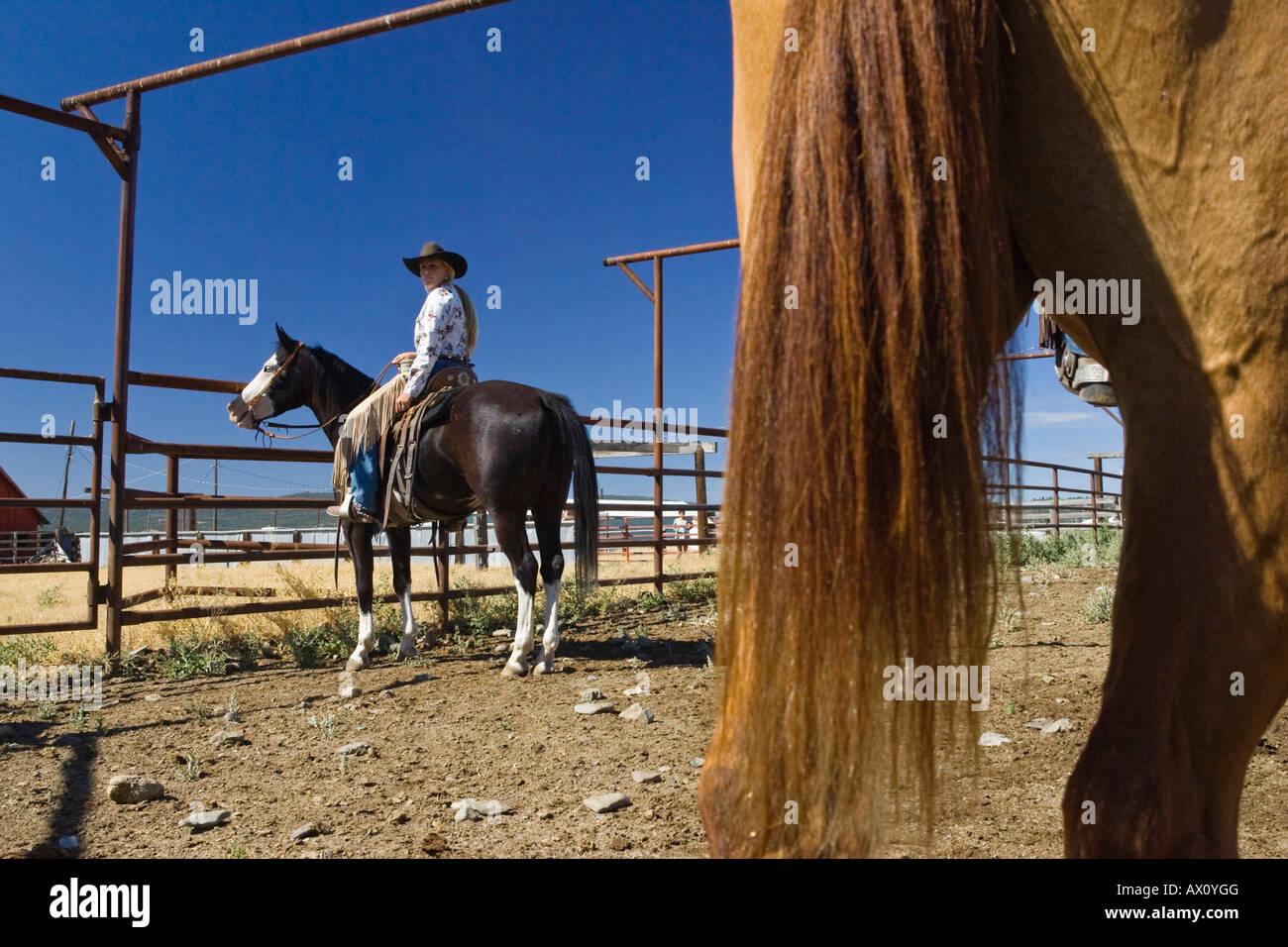 Cowgirl i cowboys e lavorando su ranch, wildwest, Oregon, Stati Uniti d'America Immagini Stock
