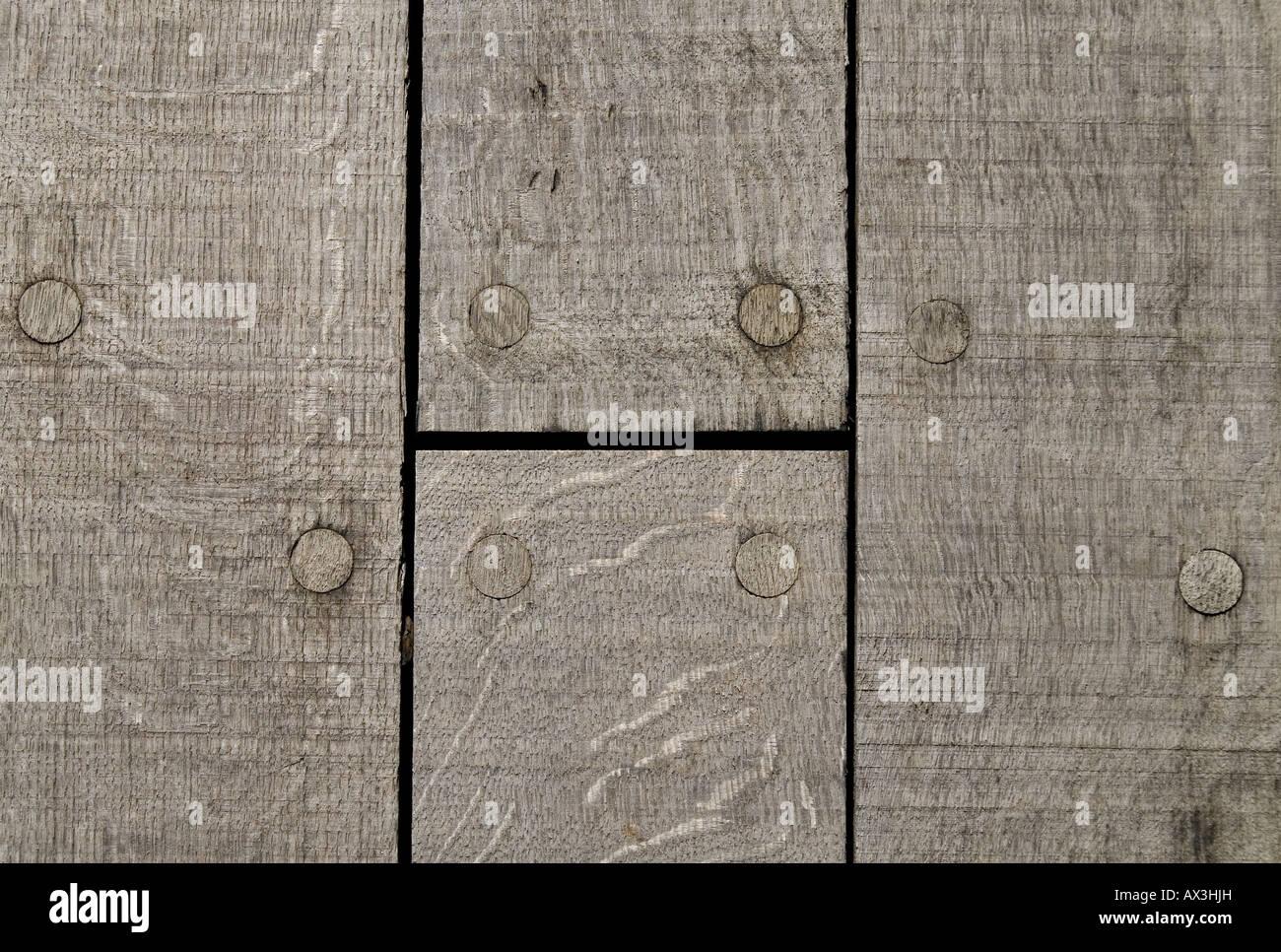 Dettaglio della passerella in legno di quercia per la nuova Playhouse. Copenhagen. Danimarca Immagini Stock