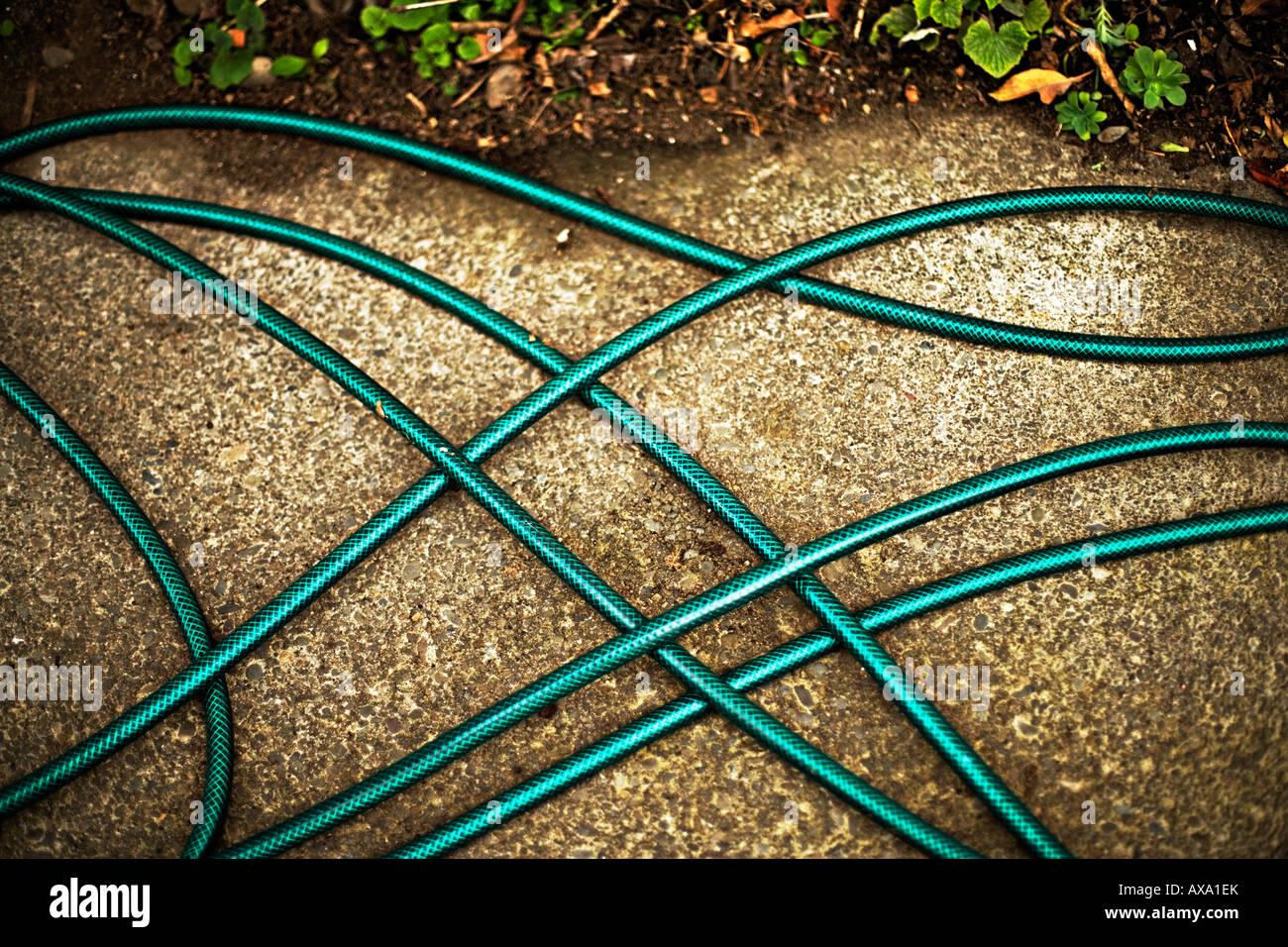 Giardino tubo flessibile sul percorso di calcestruzzo Immagini Stock