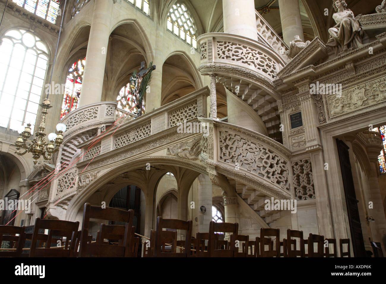 St Etienne de Mont Chiesa, Montagne Ste GENEVIEVE, Parigi, Francia Immagini Stock