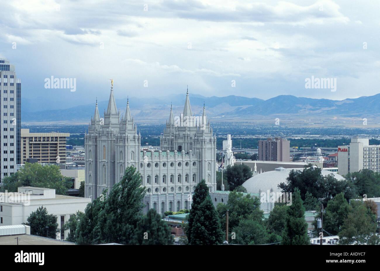 Il Tempio Mormone nel centro di Salt Lake City Foto Stock