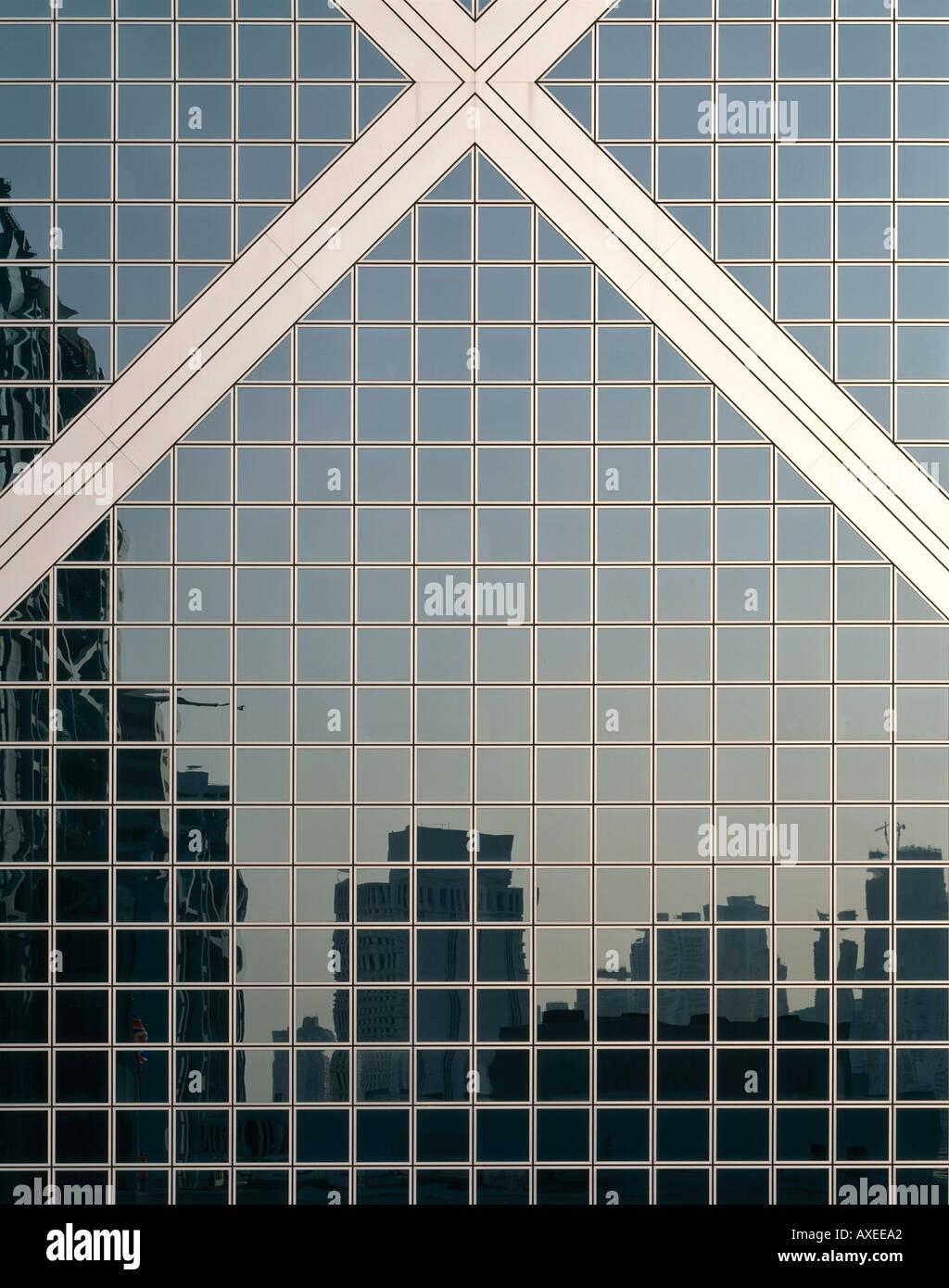 Banca di Cina, Hong Kong, Cina, 1985-90. Dettagli esterni. Architetto: Pei, Cobb e liberati gli architetti Immagini Stock