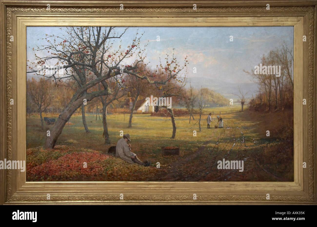 Stagioni di nebbie la pittura ad olio da Henry Hewitt nella vecchia galleria d'arte Brisbane Queensland QLD Immagini Stock