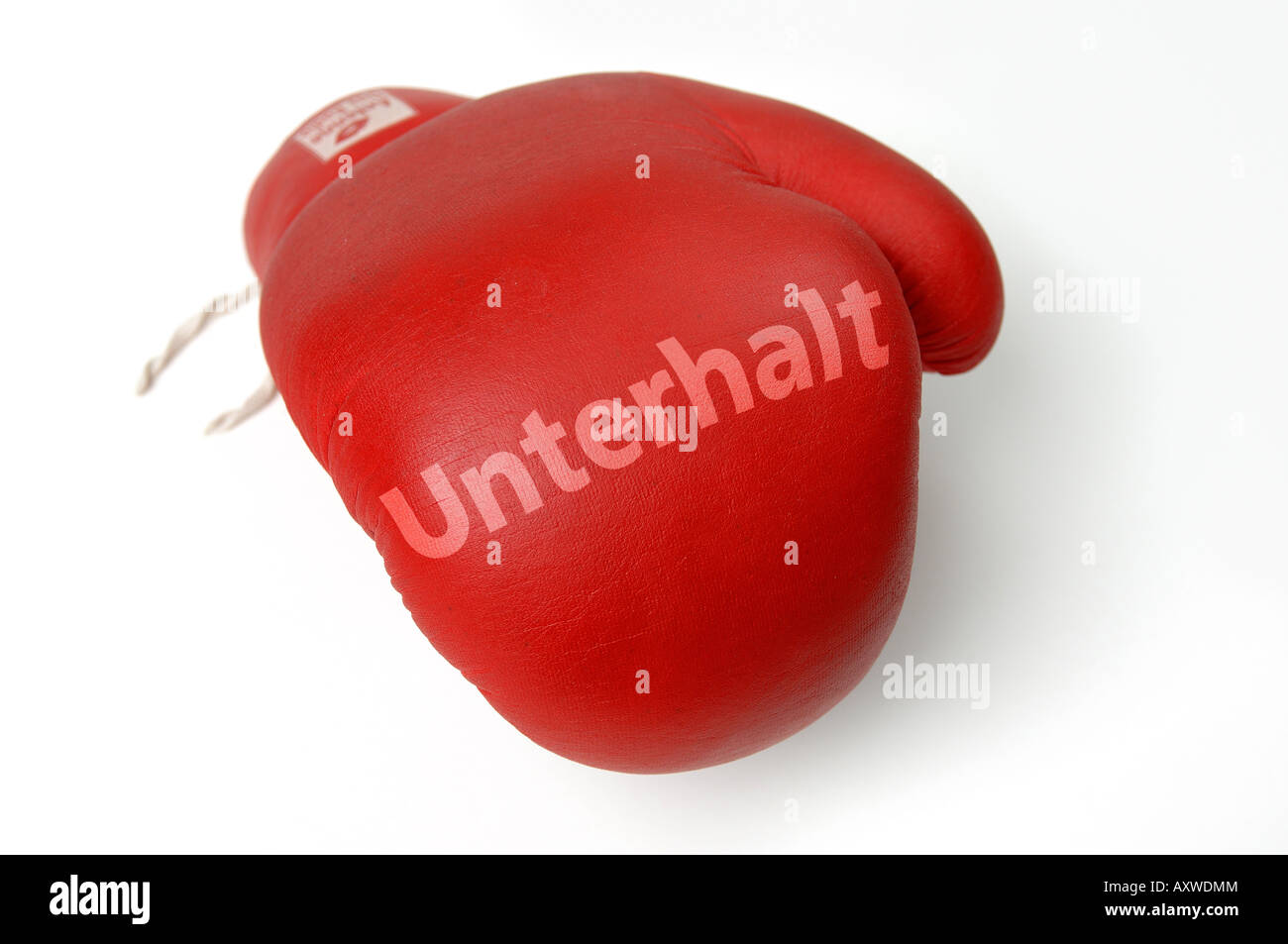 Red guanto di boxe con stampa di assegni alimentari Immagini Stock