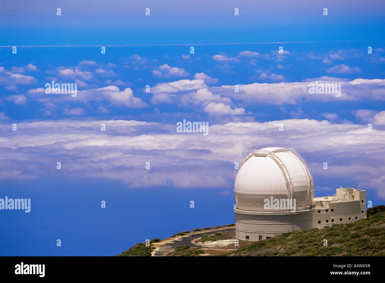 Osservatorio astrofisica situato nei pressi di Roque de los Muchachos, La Palma Isole Canarie Spagna, Atlantico, Immagini Stock