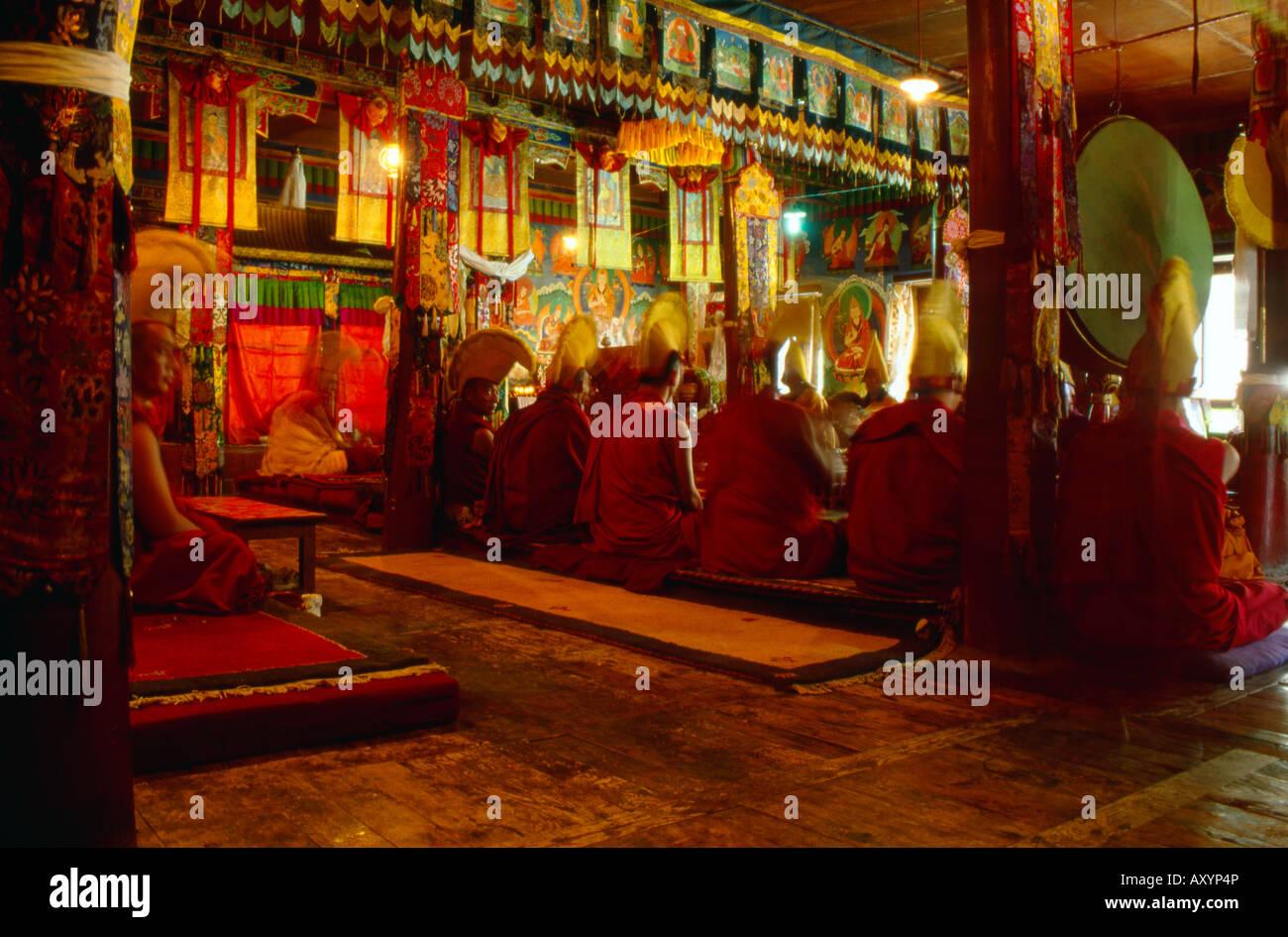 I monaci a pregare in un tempio buddista in Tibet Likir Immagini Stock