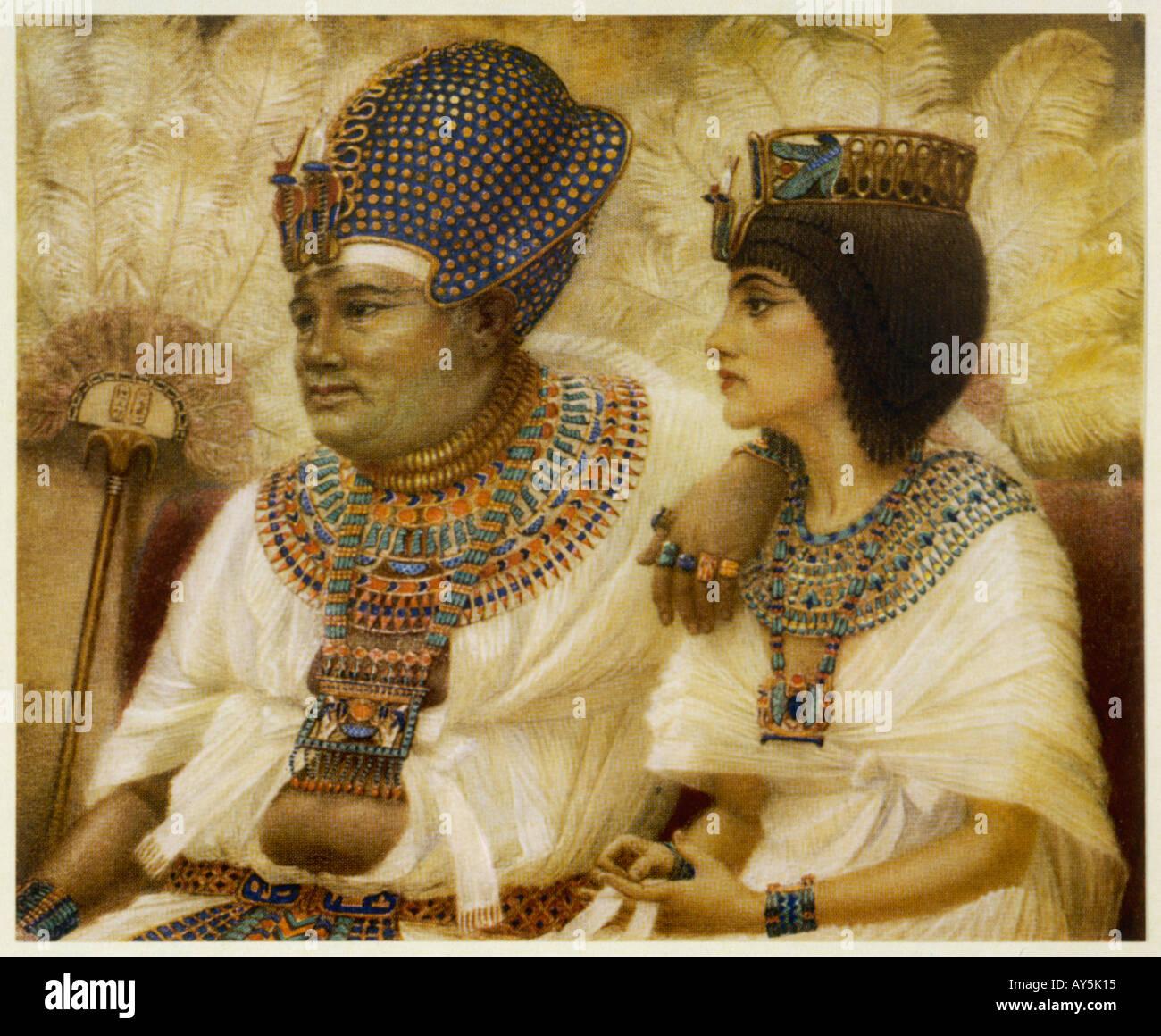 Amenhotep III e Tiy Foto Stock