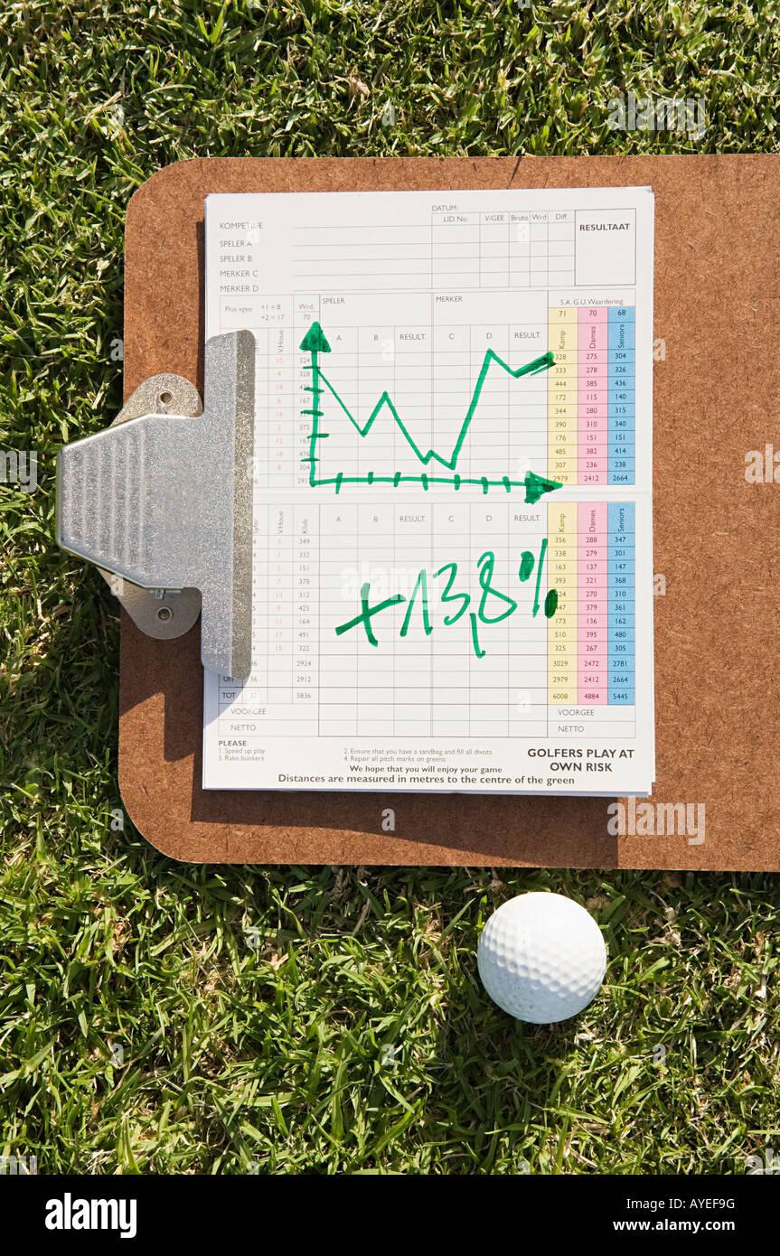 Un grafico e una pallina da golf Immagini Stock