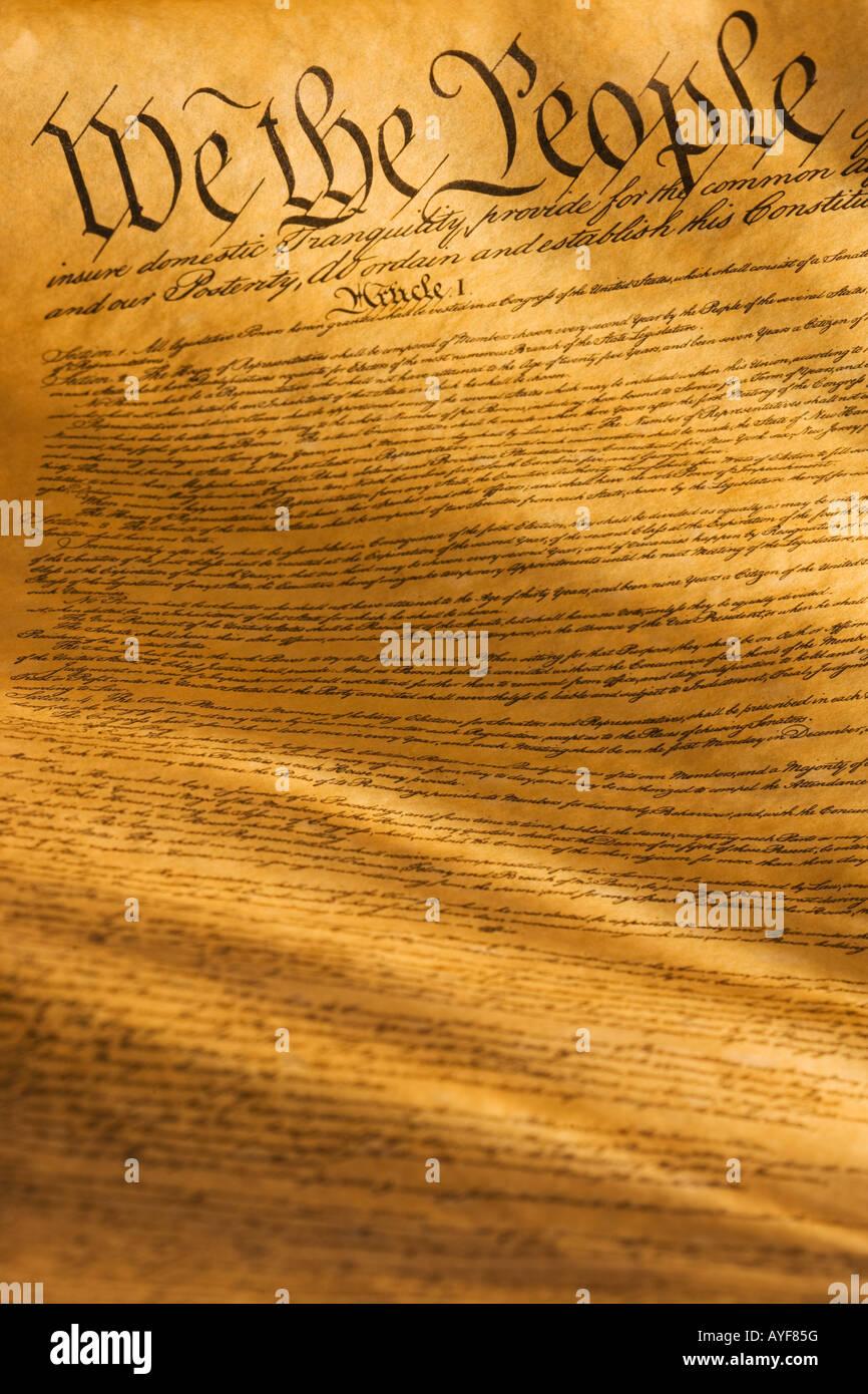 Chiudere la costituzione degli Stati Uniti Immagini Stock