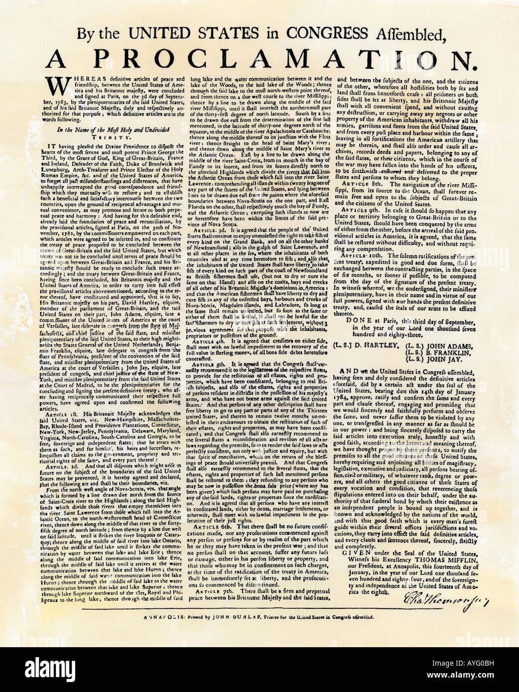 Annuncio del Trattato di Parigi che termina la guerra rivoluzionaria 1783. Xilografia con un lavaggio ad acquerello Immagini Stock
