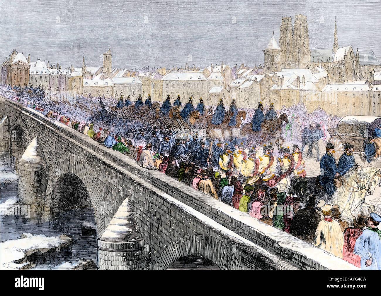 Esercito prussiano attraversamento della Loira ad Orleans durante la guerra franco-prussiana inverno 1871. Colorate Foto Stock