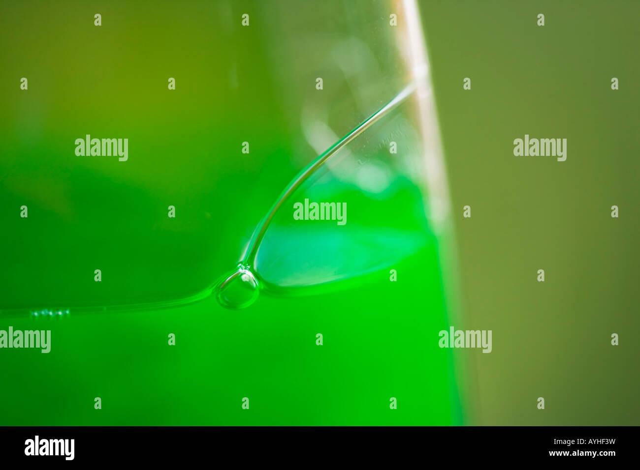 Green detersivo liquido in una bottiglia di plastica Immagini Stock
